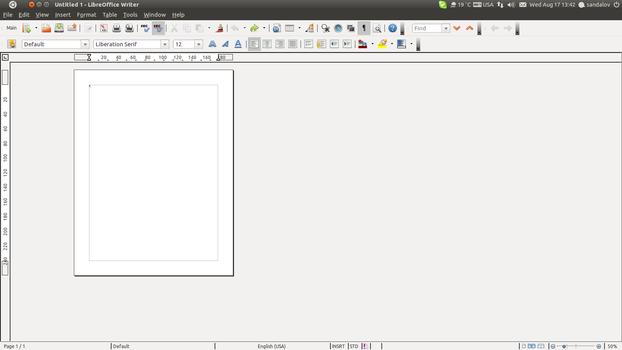 Новый документ в LibreOffice Writer